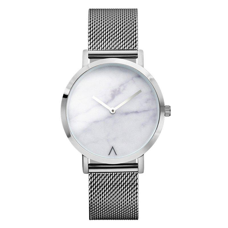 Marble Face Alloy Mesh Strap Watch - SILVER