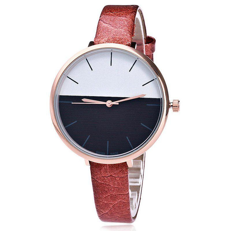 Color Block Face Faux Leather Strap Watch - BROWN