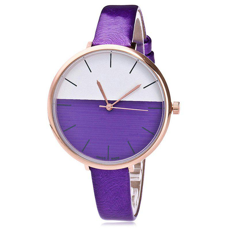 Color Block Face Faux Leather Strap Watch - PURPLE