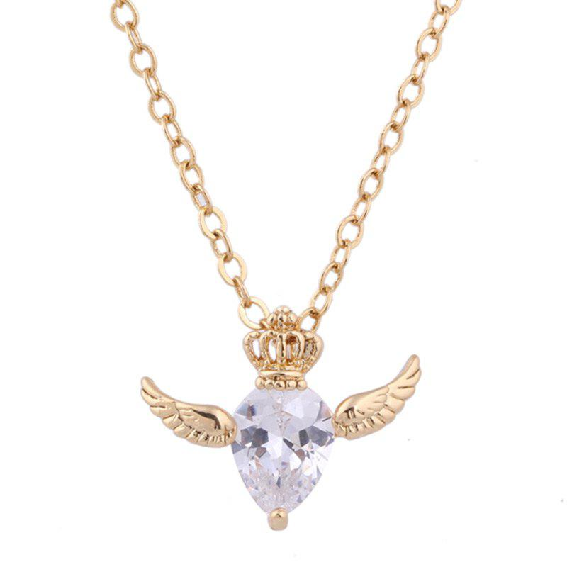 2018 faux crystal crown and wings pendant necklace golden in faux crystal crown and wings pendant necklace golden aloadofball Choice Image