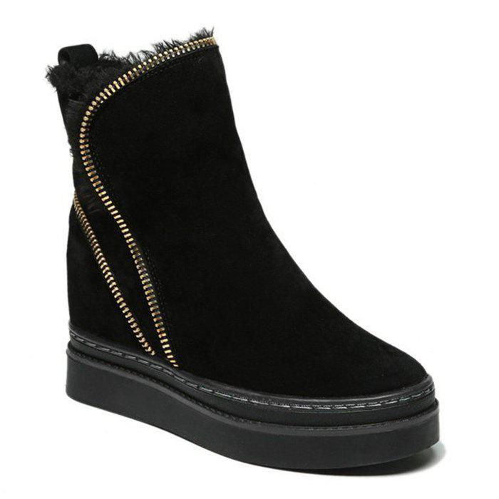 Fold Over Stitching Zip Embellished Short Boots