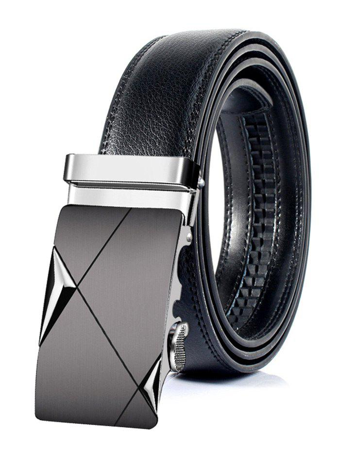 Attractive Automatic Metal Buckle Artificial Leather Belt - SILVER 125CM