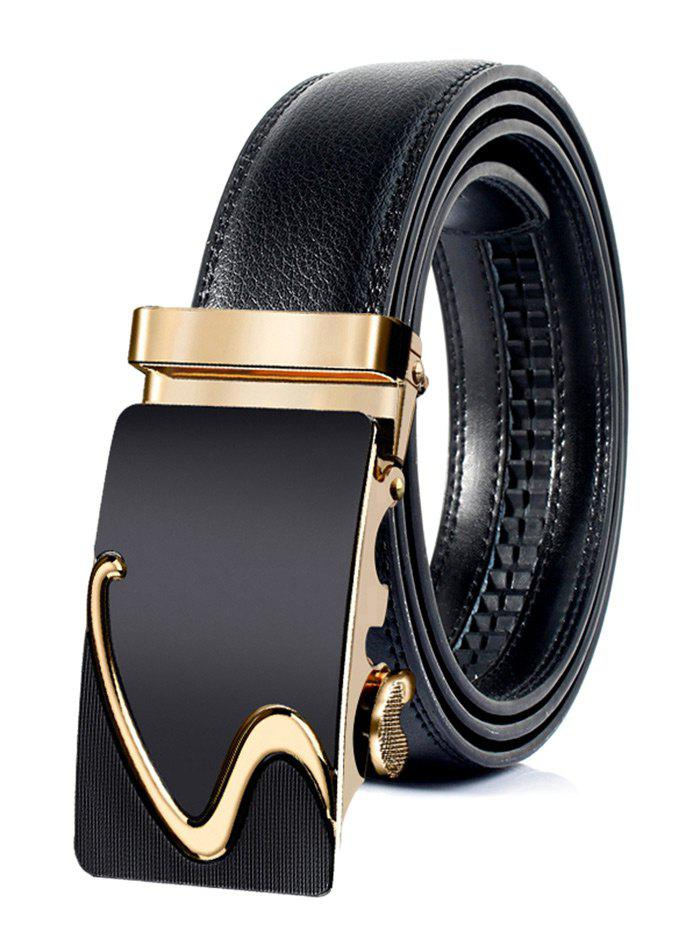 S Pattern Carved Automatic Buckle Faux Leather Belt - GOLDEN 120CM