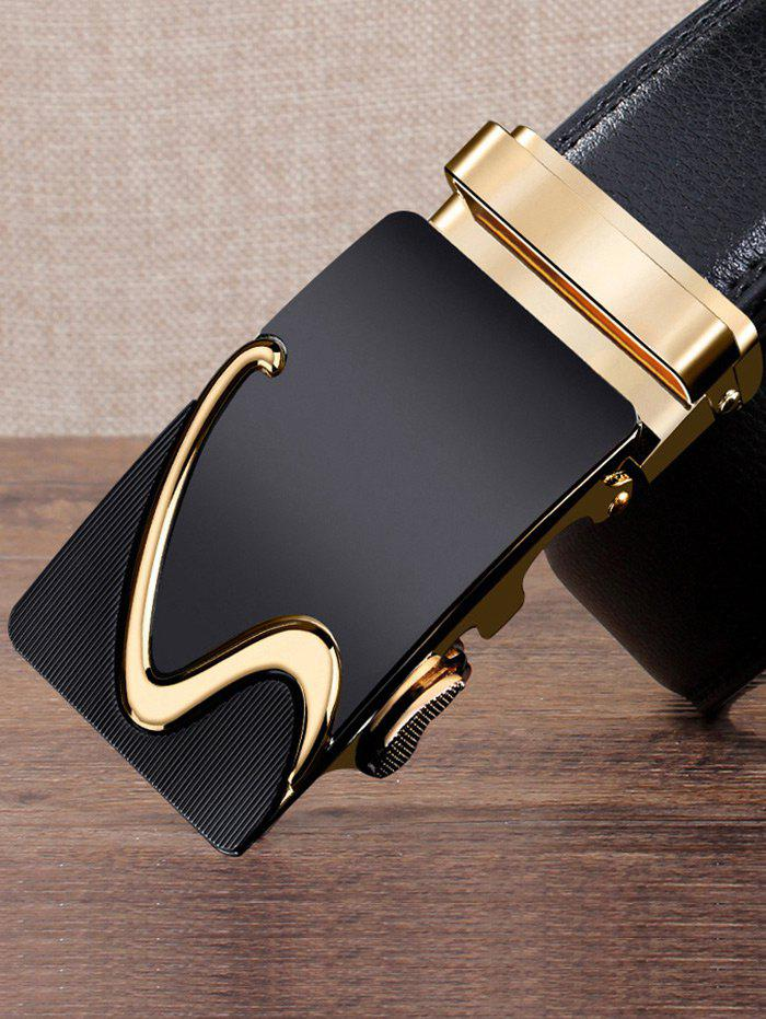 S Pattern Carved Automatic Buckle Faux Leather Belt - GOLDEN 110CM