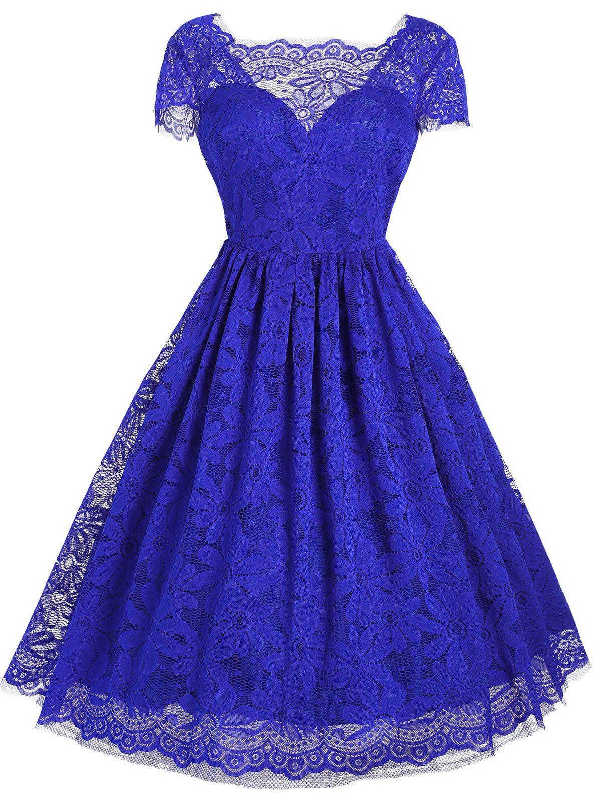 Vintage Square Neck Lace Dress - BLUE S