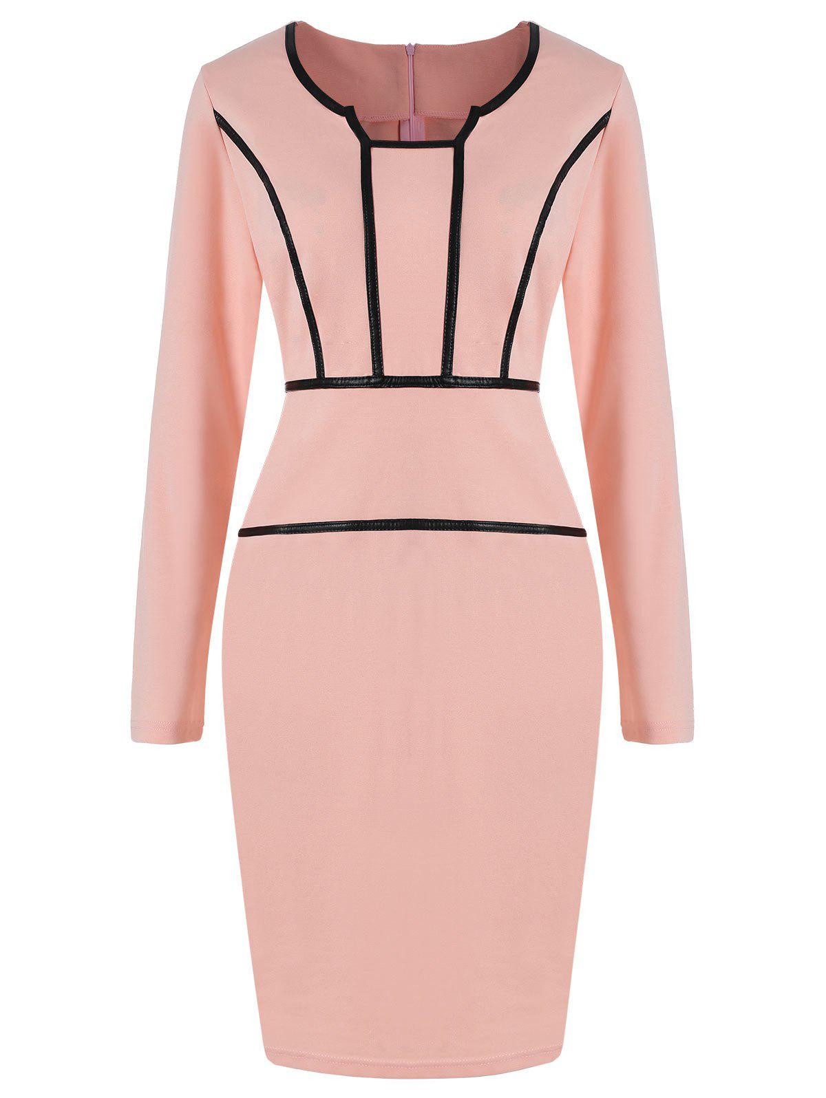 PU Trim Long Sleeve Party Pencil Dress - PINK M