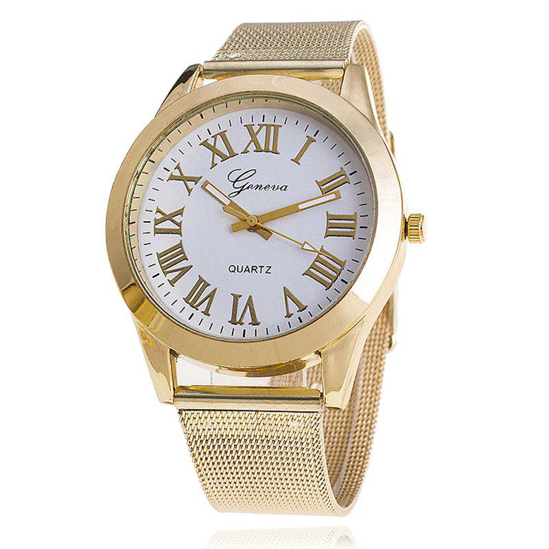 Roman Numerals Alloy Mesh Strap Watch - WHITE