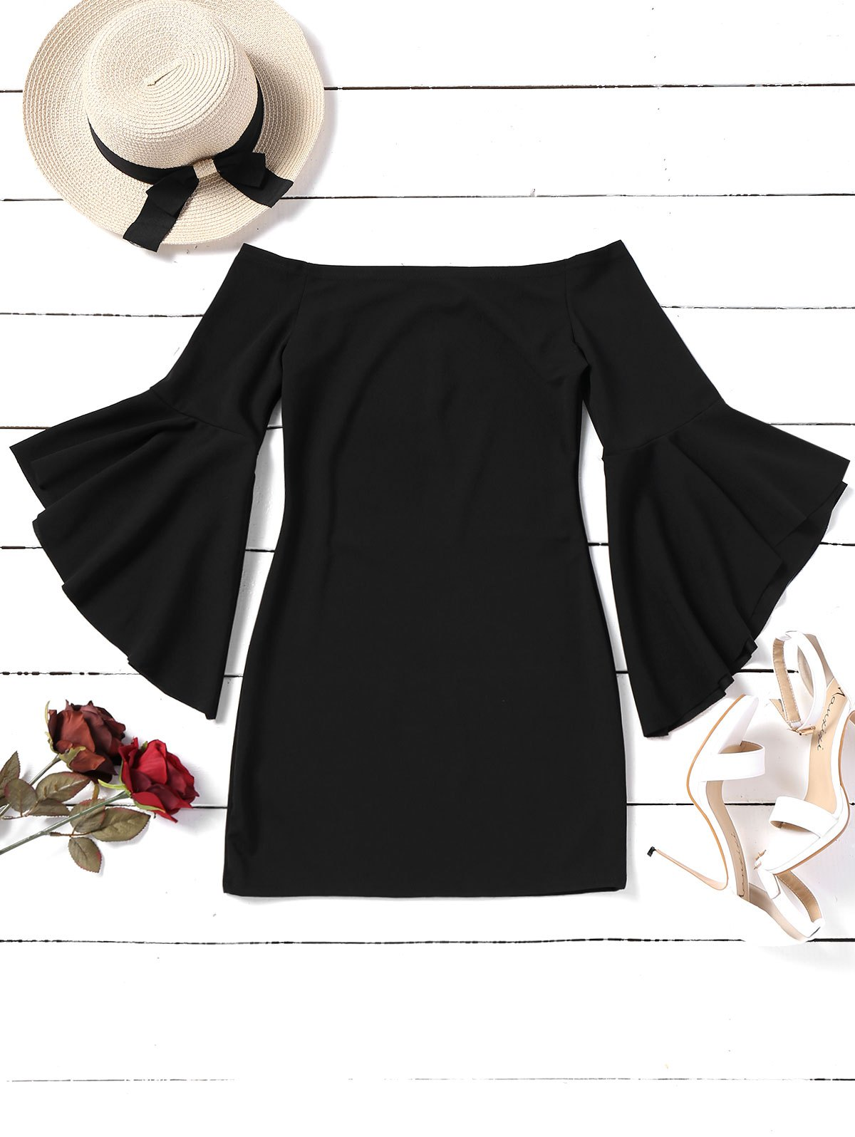 Off Shoulder Flare Sleeve Mini Dress - BLACK XL
