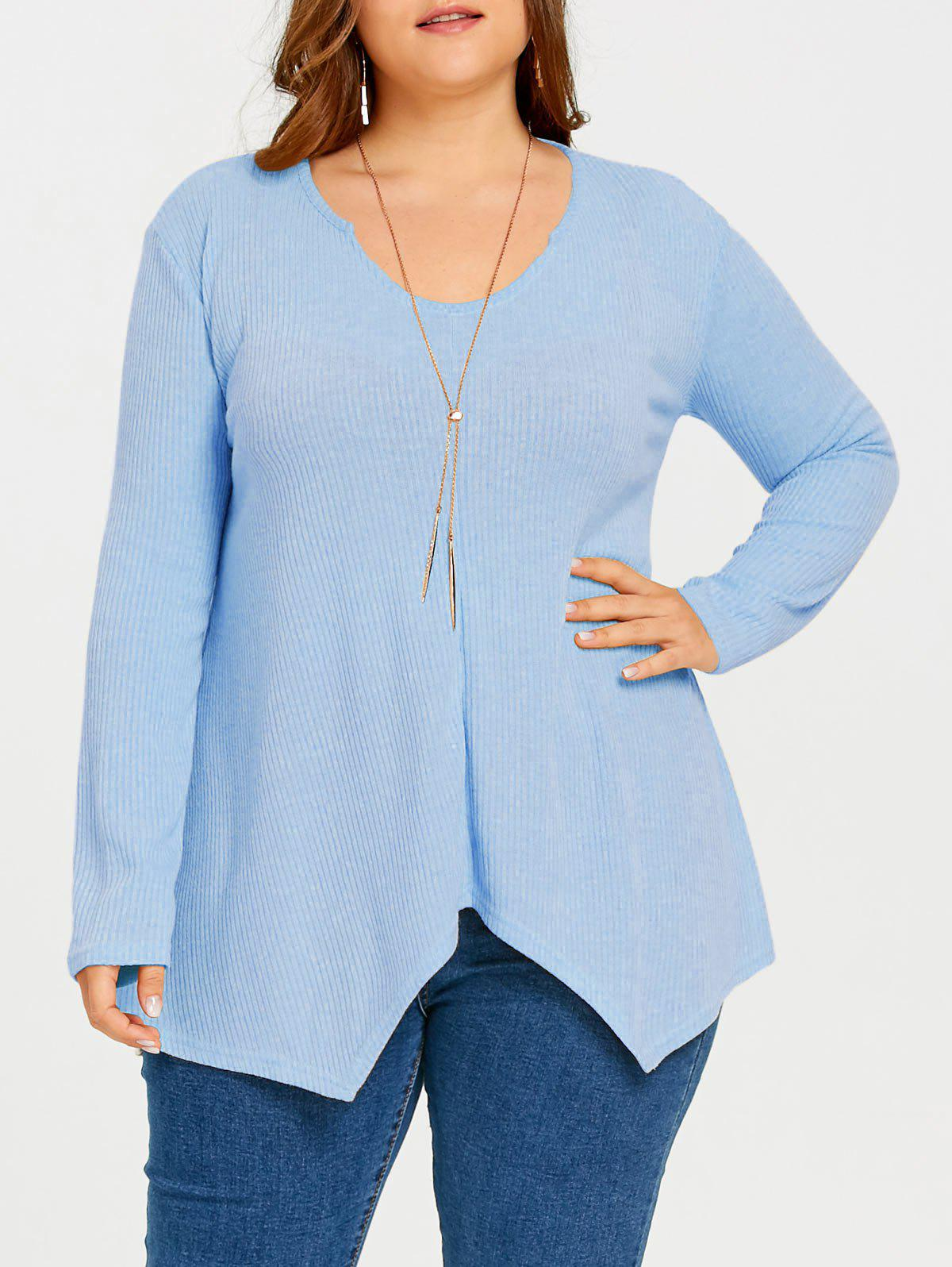 Plus Size  Ribbed Knit  Asymmetric Sweater - BLUE 5XL