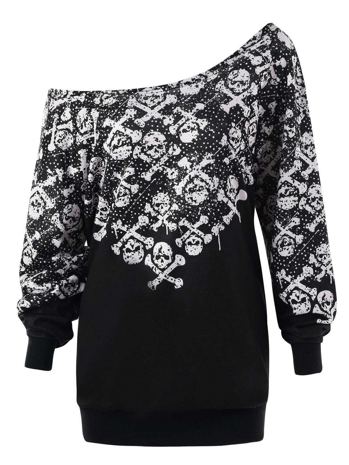 Plus Size Monochrome Skulls Skew Collar Sweatshirt plus size christmas reindeer skew collar sweatshirt