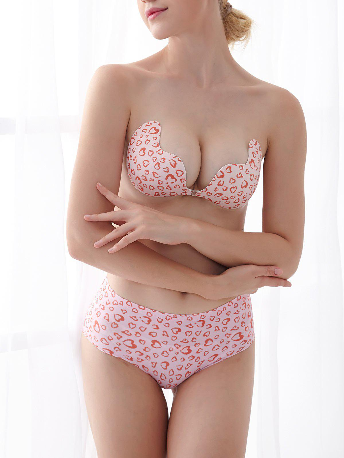 Pasties Strapless Sticky Bra - RED LEOPARD PATTERN CUP B