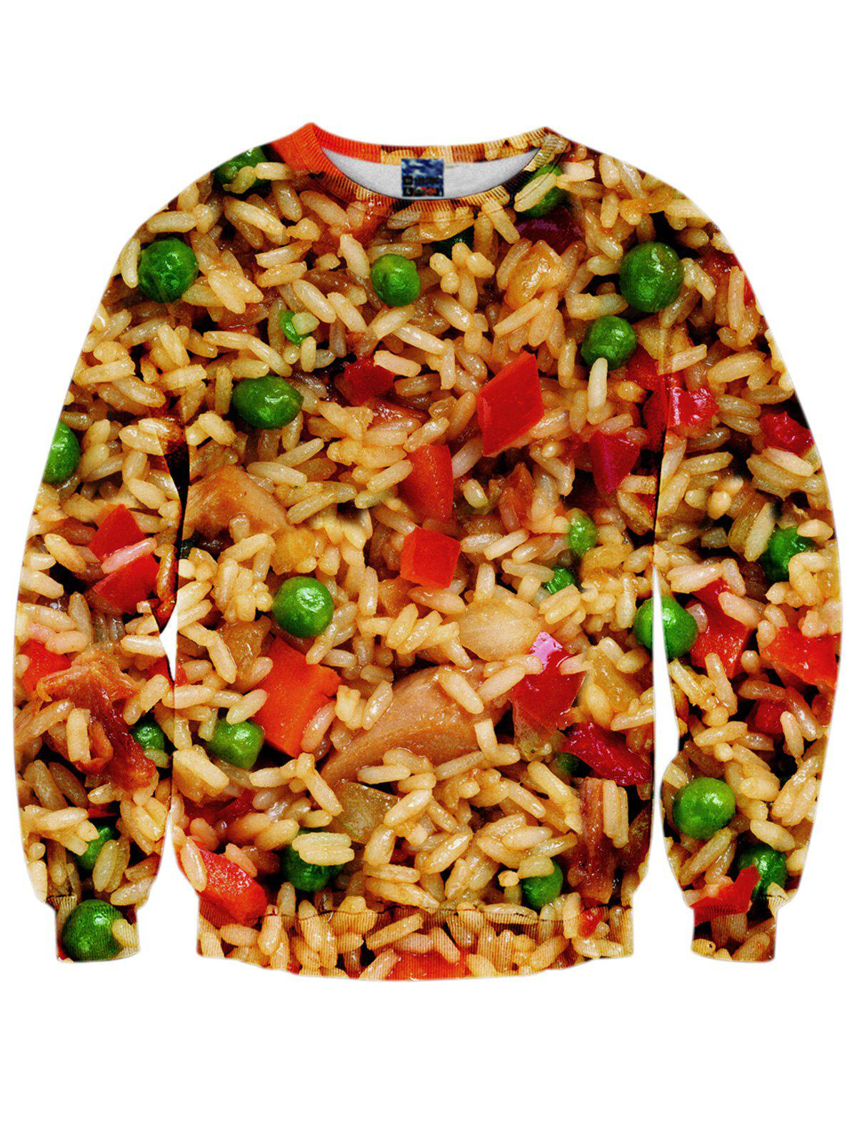 3D Food Print Crew Neck Sweatshirt - COLORMIX M