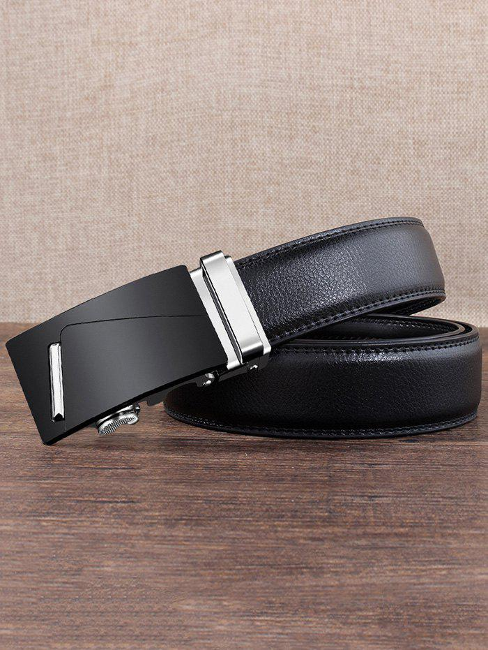 Vintage Metal Bar Auto Buckle Embellished Faux Leather Belt - SILVER 130CM