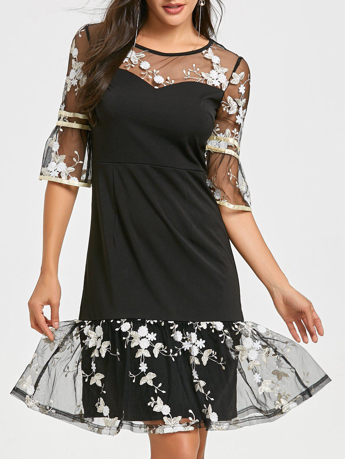 Flounce Mesh Insert Embroidery Dress - BLACK L