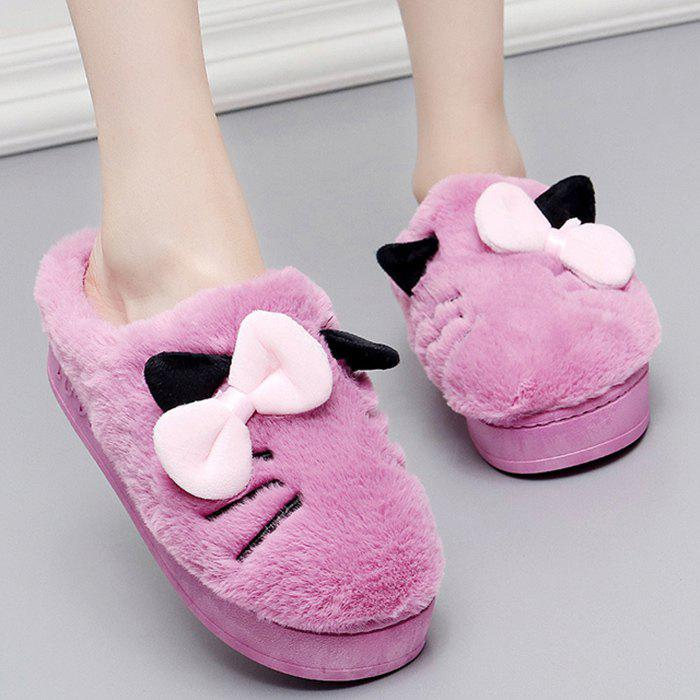 Slip-on Design Fuzzy Bow Slippers