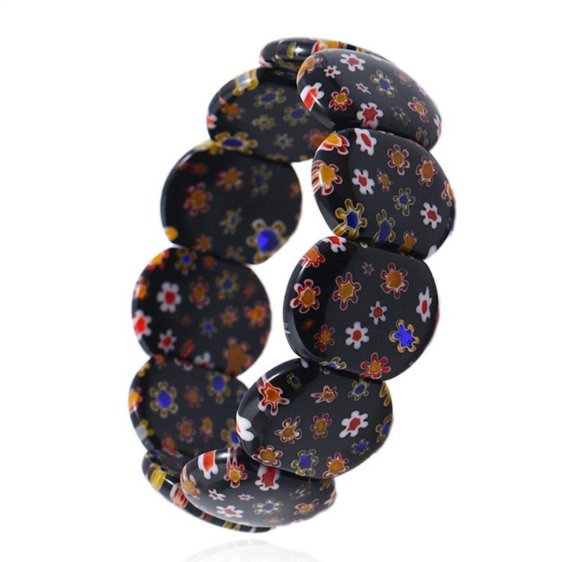 Fake Crystal Hand Made Flower Print Strand Bracelet - BLACK