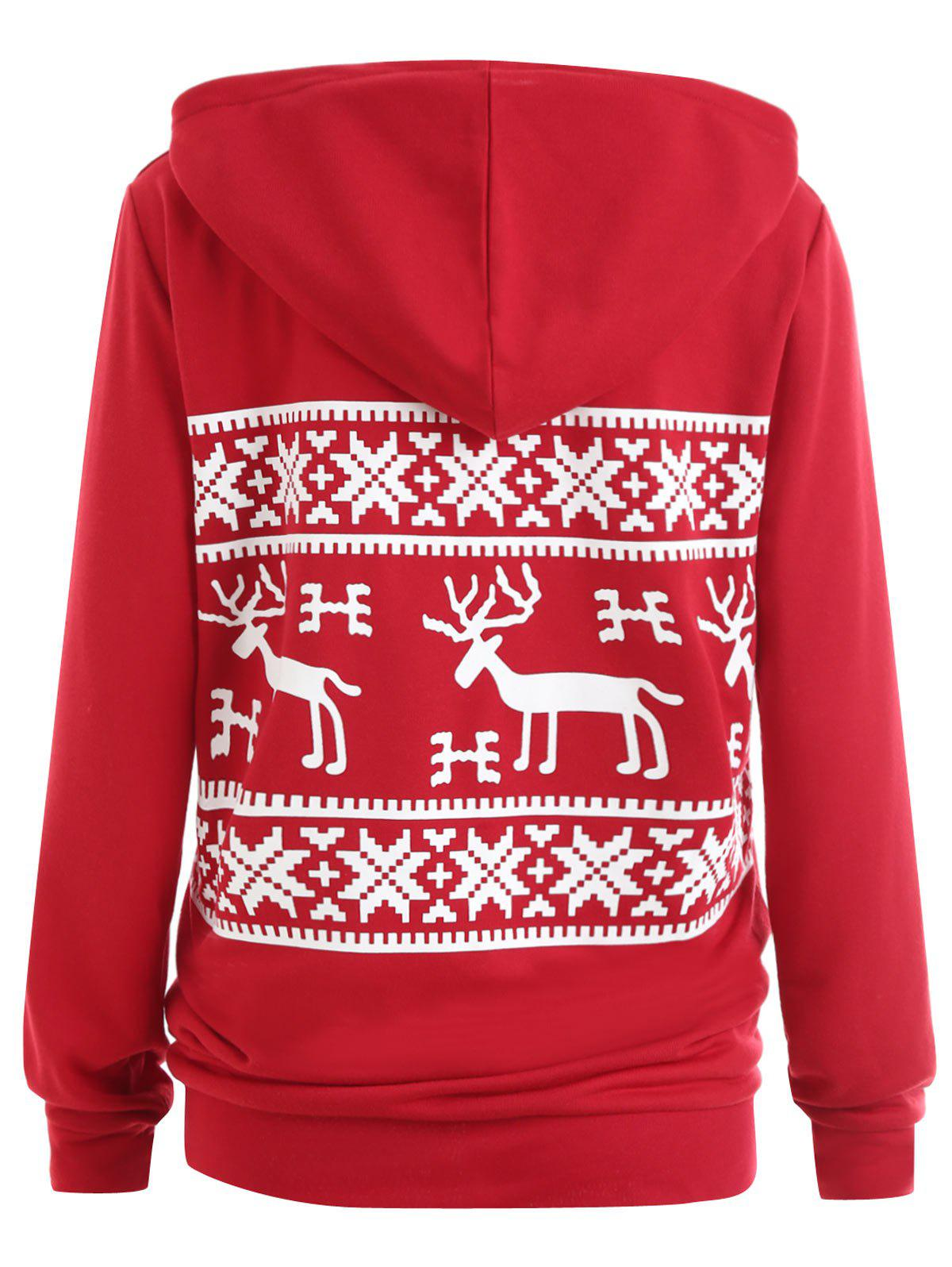 Plus Size Christmas ELK Hoodie with Pocket - RED 5XL