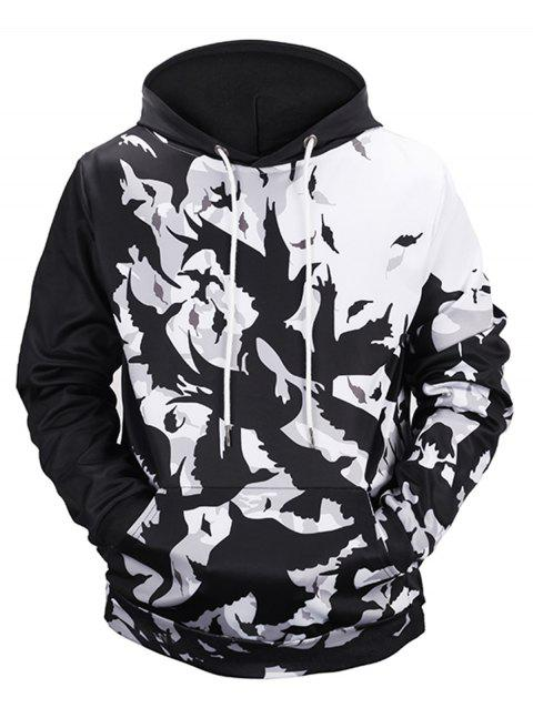 Allover Birds Printed Pullover Hoodie - COLORMIX L