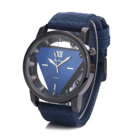 Hollow Out Triangle Shape Canvas Strap Watch - BLUE
