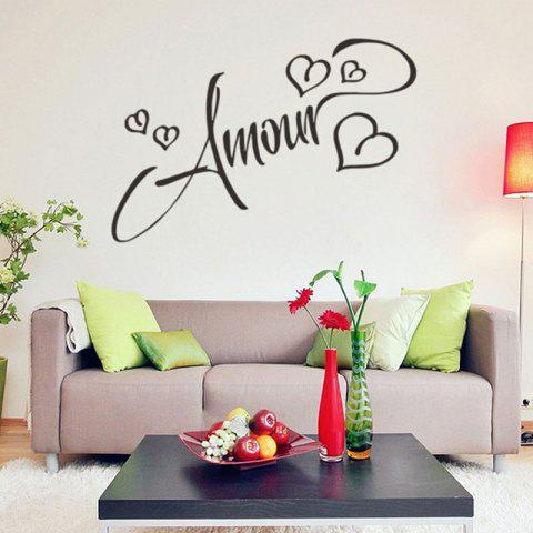 Love Heart Amour Letter Patterned Wall Decal - BLACK