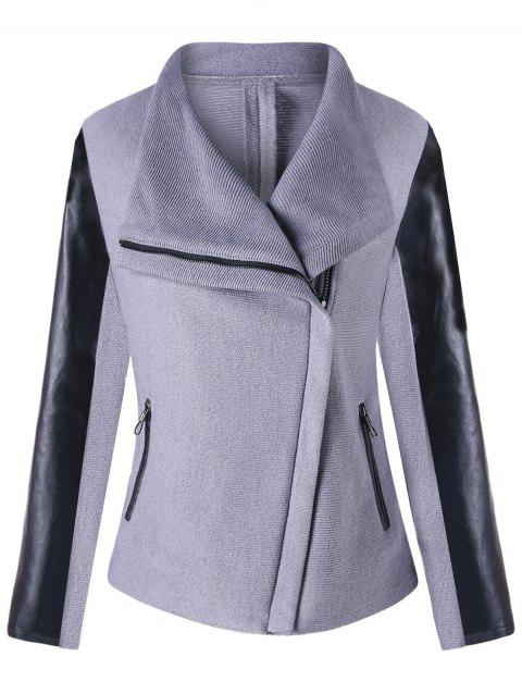 Turndown Collar PU Leather Panel Zipped Jacket - GRAY L