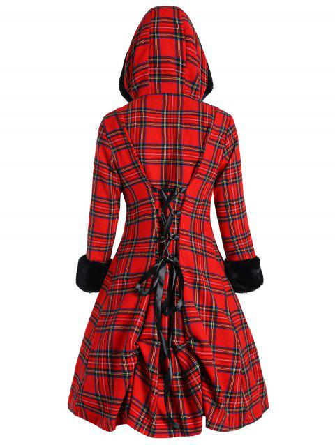 Plus Size Lace-up Button Up Plaid Coat - CHECKED XL