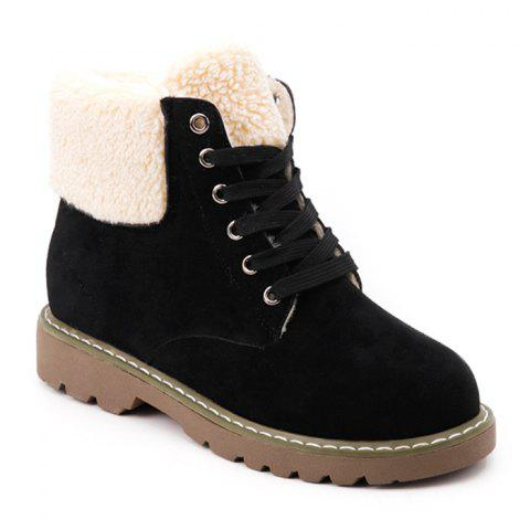 Fold Over Faux Shearling Ankle Boots - BLACK 37