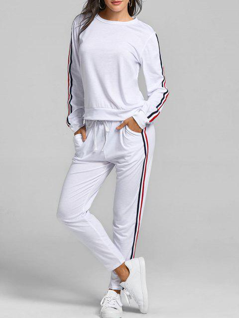 Sweatshirt With Pants Striped Sweat Suits - WHITE M