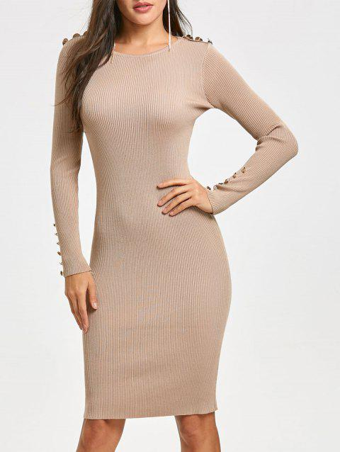 Bodycon Knit Sweater Dress - APRICOT ONE SIZE