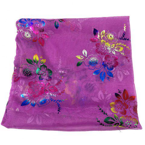 Vintage Flowers Embroidery Embellished Infinity Sheer Scarf - PURPLE