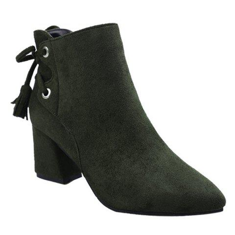 Tassels Pointed Toe Side Zip Ankle Boots - ARMY GREEN 35