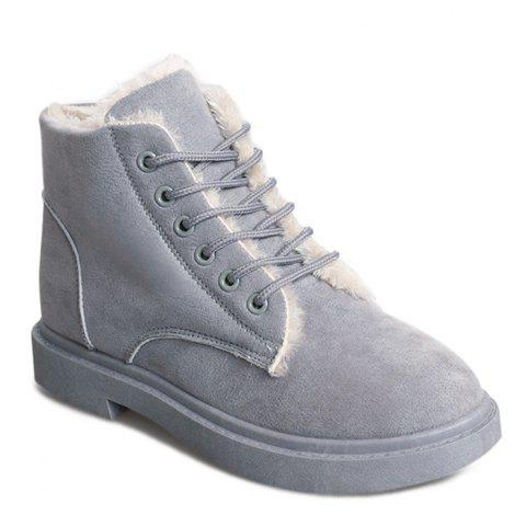 Lace Up Faux Fur Lined Ankle Boots - GRAY 36