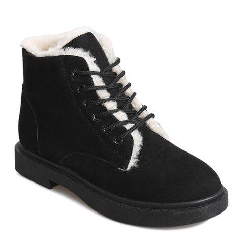 Lace Up Faux Fur Lined Ankle Boots - BLACK 36
