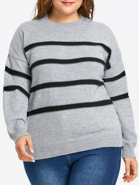Plus Size Striped Drop Shoulder Sweater - GRAY 4XL