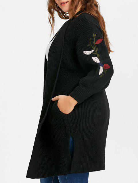 Flower Embroidered Drop Shoulder Plus Size Knitted Coat - BLACK 2XL