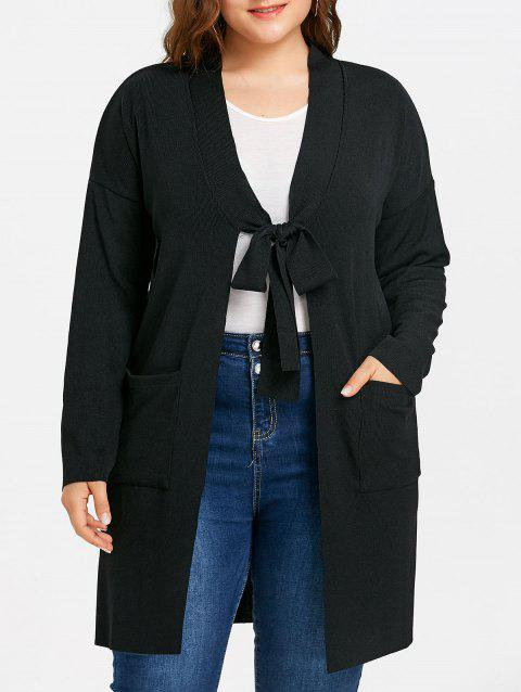 Plus Size Drop Shoulder Side Slit Knitted Coat - BLACK ONE SIZE