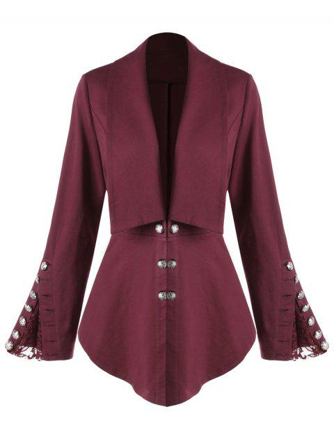 Plus Size Button Shawl Collar Lace Insert Jacket - WINE RED 3XL