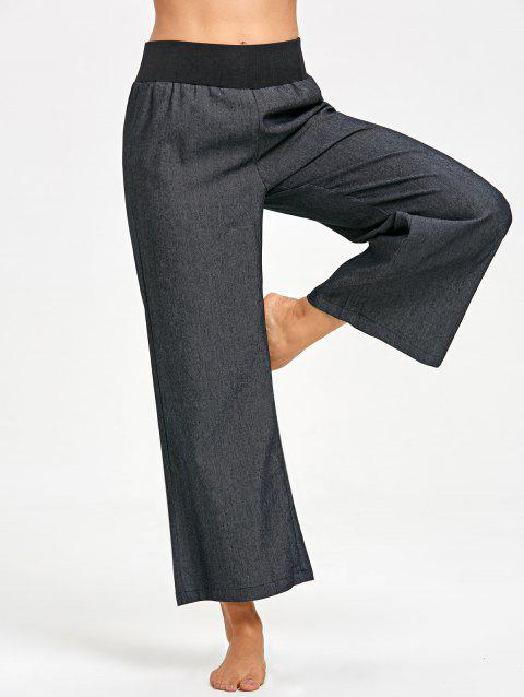 Elastic Waist Wide Leg Pants - BLACK L