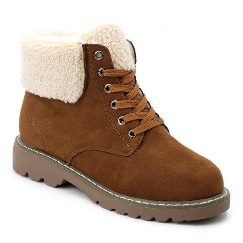 Fold Over Faux Shearling Ankle Boots - BROWN 38