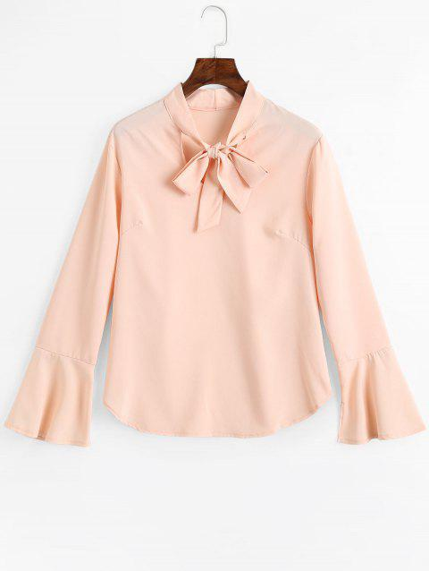 Blouse Fendue à Manches Cloches à Noeud Papillon - Rose Abricot M