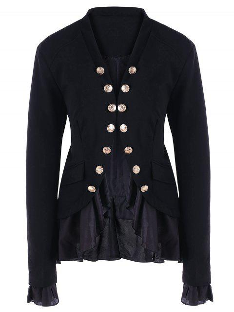 Buttons Chiffon Trimmed Jacket - BLACK XL