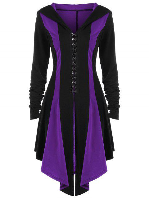 Hooded Lace Up Hook Button Coat - BLACK/PURPLE L