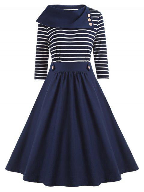 Button Embellished Striped Vintage Dress - BLUE M