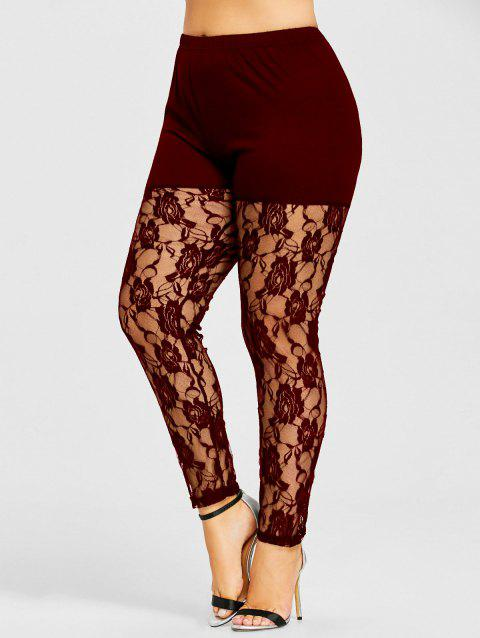 Sheer Lace Panel Plus Size Leggings - WINE RED 4XL