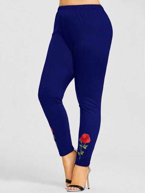 Rose Applique Plus Size Leggings - BLUE 3XL