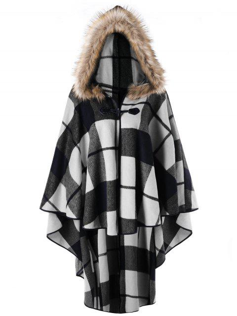 Plus Size Plaid Hooded High Low Cloak - WHITE/BLACK XL