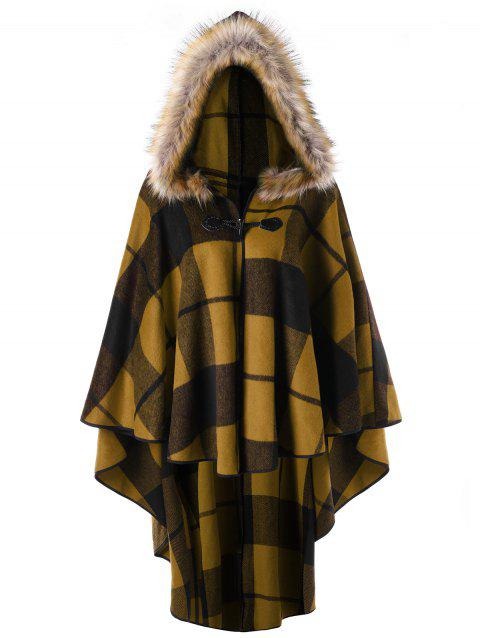 Plus Size Plaid Hooded High Low Cloak - GINGER XL