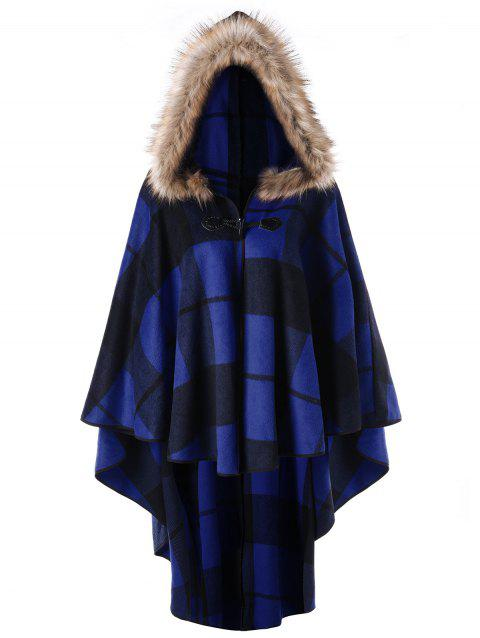 Plus Size Plaid Hooded High Low Cloak - BLUE XL