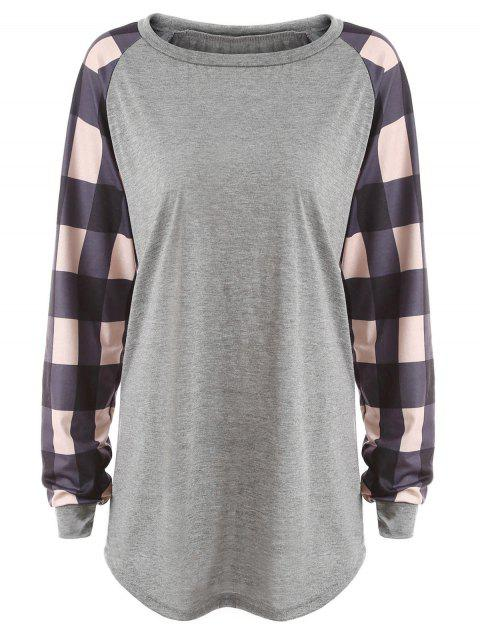 Plus Size Plaid Panel Raglan Sleeve  T-shirt - GRAY 5XL