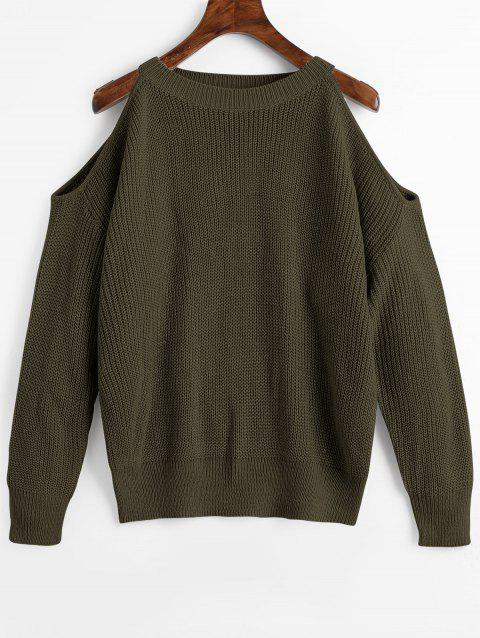 Cold Shoulder Crew Neck Pullover Sweater - ARMY GREEN ONE SIZE